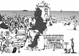 De arme bevolking van Curacao, de vissers en verscheidene natuurorganisaties vrezen dit beeld met de komst van de Beach Management Authority. Cartoon Joes Wanders.