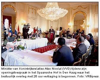 Donderdag 2 november 2006: Historisch accoord tussen Nederland, Curacao en Sint Maarten, minister Atzo Nicolaï verzorgt de opening.