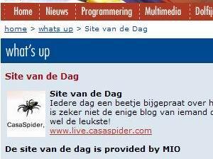 02.04.2007: CasaLog is Site van de Dag bij Dolfijn FM. Klik voor groter.