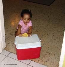 27.03.2007: Diana doet het duwen van de koelbox afgelopen zondag nog eens dunnetjes over. Klik voor groter.