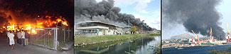 Op 23 januari 2007 breekt voor de derde keer brand uit in de Curacao Free Zone. Tot aan 20 februari volgen er nog twee. Foto Amigoe.