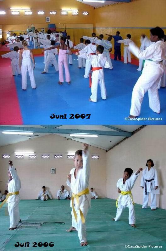 16.06.2007: De dojo van Curacao Karate-Do wordt steeds mooier, zie hier het verschil tussen juli 2006 en juni 2007. Klik voor groter.