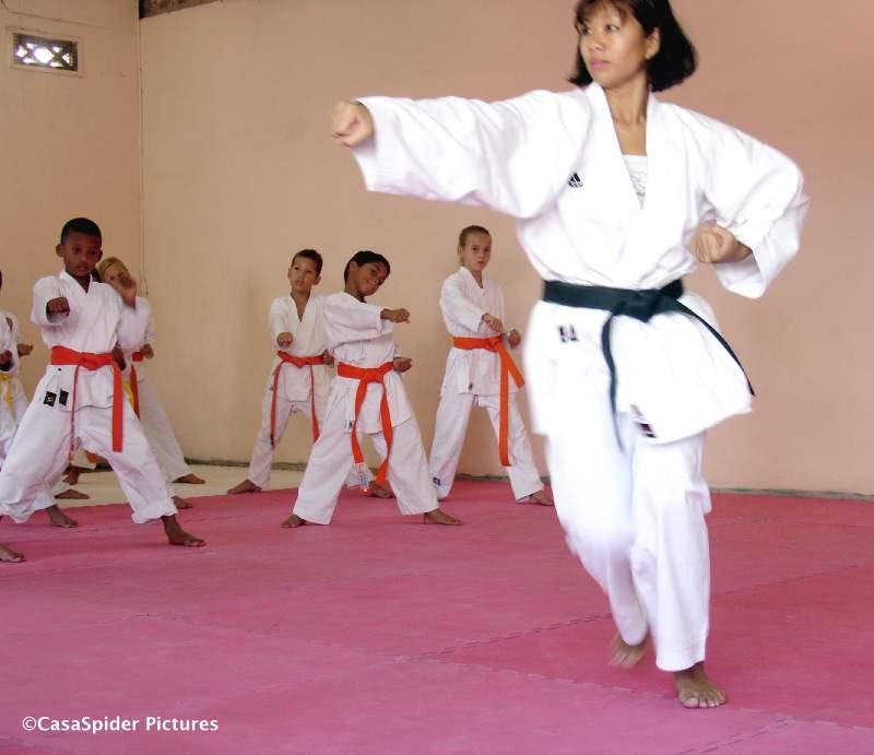 Op 3 februari 2007 begonnen de karatelessen van Curacao Karate-Do weer, op een nieuwe mat. Klik voor groter.