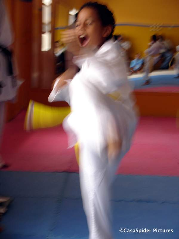20.05.2007: Luchiano (9) slaagt als tweede uit de groep van zeven voor zijn oranje-band examen Wado Ryu karate. Klik voor groter.