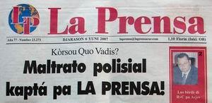Voorpagina La Prensa woensdag 6 juni 2007. Klik voor groter.