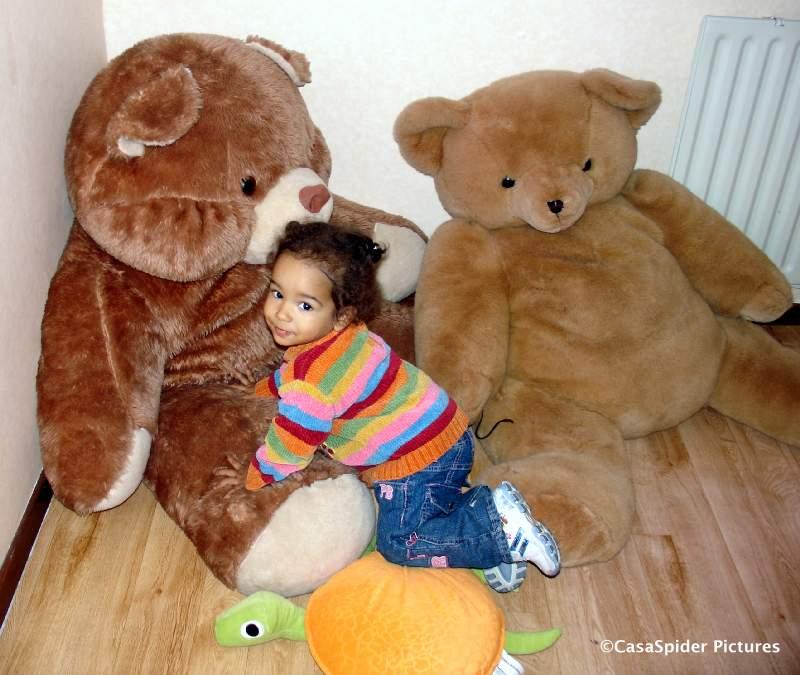 04.11.2007: Diana (1) is verguld met haar twee Kringloopberen. Klik voor groter.