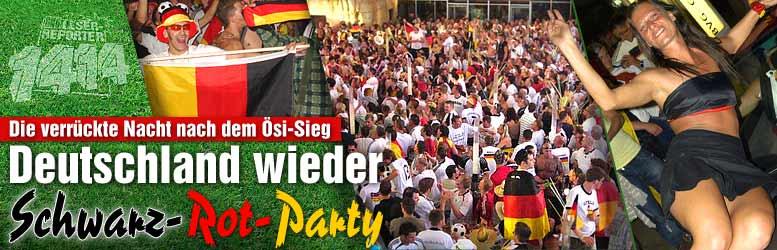 16.06.2008: Duitse fans vieren een magere 1-0 zege tegen het machteloze Oostenrijk. Klik voor groter.