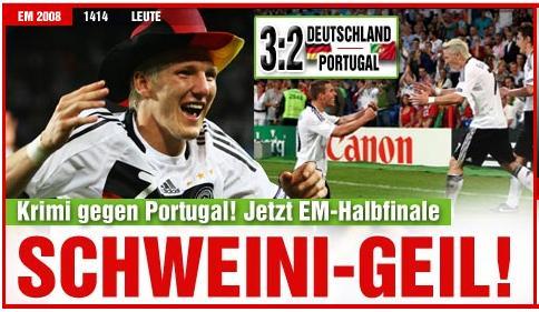 19.06.2008: Duitsland verrast Portugal en zichzelf met 3-2 overwinning. Klik voor groter.