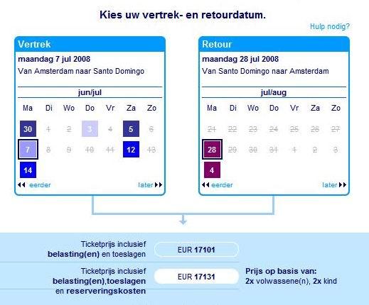 14.06.2008: Voor dit bedrag meent men toch een prive-jet te kunnen huren om van Amsterdam naar Santo Domingo te reizen. Klik voor groter.