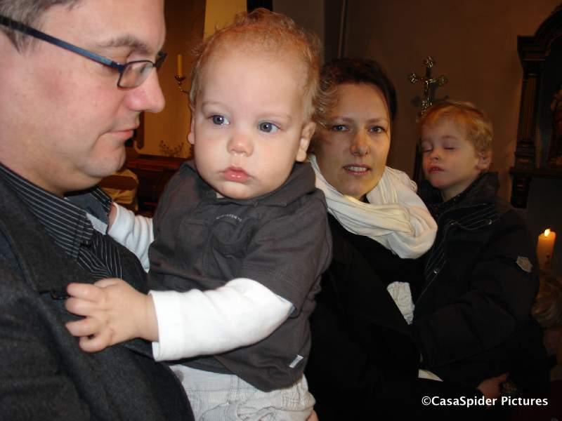 11.01.2009: Luc, Sam van Deuren (1, dopeling), Pascale en Tom (3). Klik voor groter.