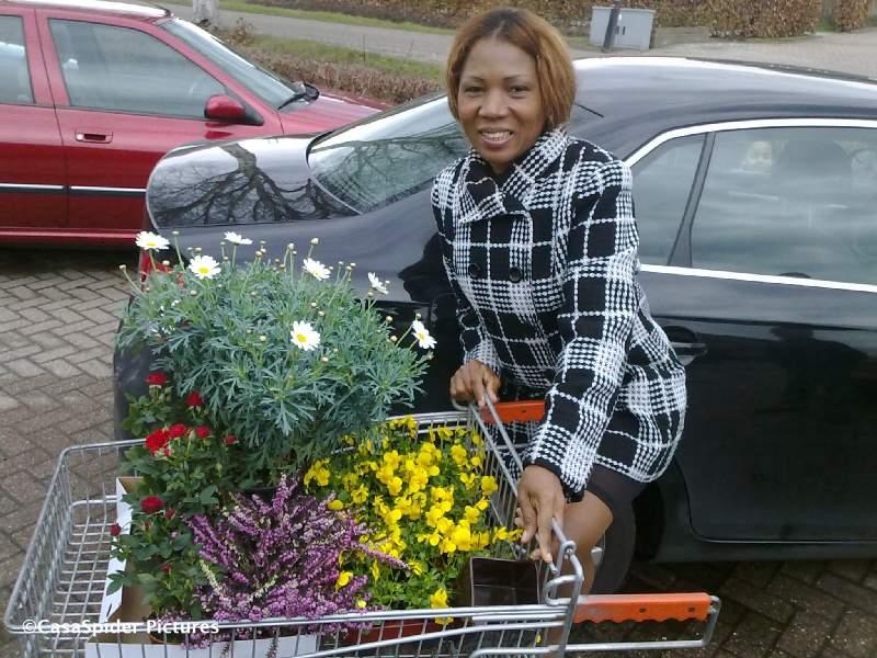 20.03.2010: Lucy temidden van haar nieuwe aanwinsten die we zojuist bij GardenMaster Rijen hebben aangeschaft. Klik voor groter.