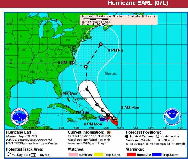 30.08.2010: Om 14:00 vanmiddag (NL-tijd) trekt orkaan Earl langs Sint Maarten. Klik voor groter.