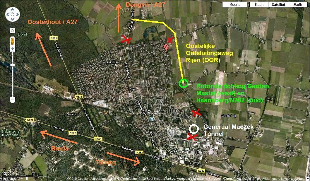 23.07.2010: De Oostelijke Ontsluitingsweg Rijen is bijna klaar, maar nu zijn bijna alle in- en uitgangen afgesloten. Klik voor groter.