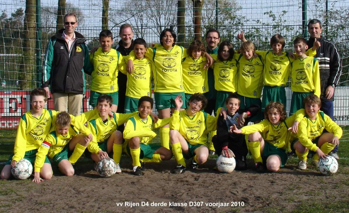 24.04.2010: Elftalfoto Rijen D4 voorjaar 2010, 3e klasse D307. Klik voor groter.