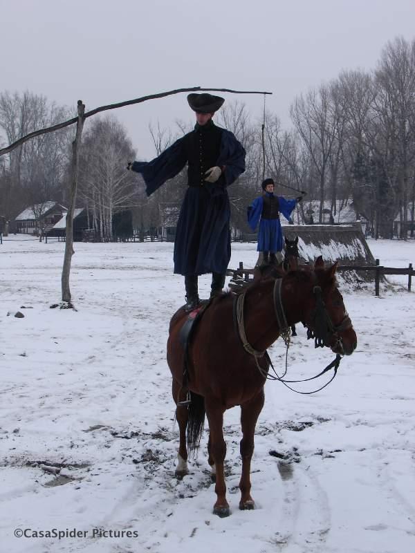 19.12.2009: Medewerkers van SQL Integrator kijken in barre omstandigheden naar een paardenshow op de Hongaarse Pusta. Klik voor groter.