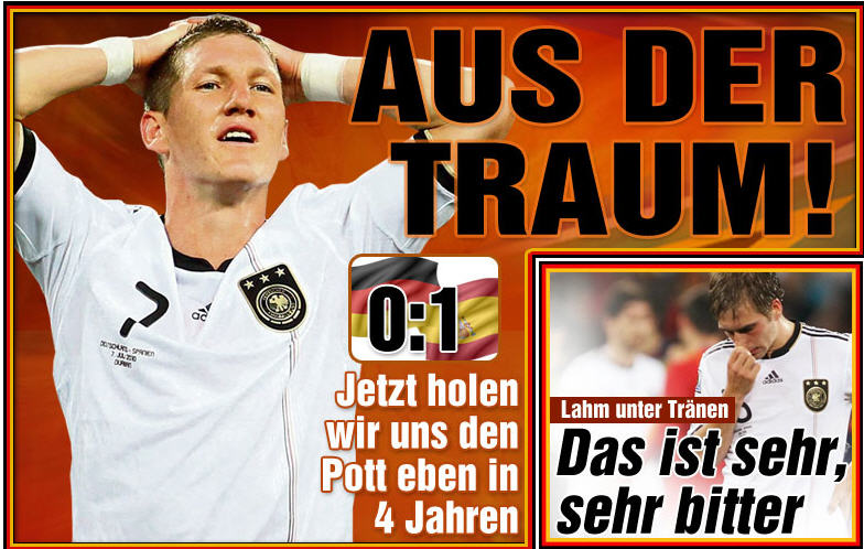 07.07.2010: Duitsland ligt eruit na de verloren halve finale wk2010 tegen Spanje. Klik voor groter.