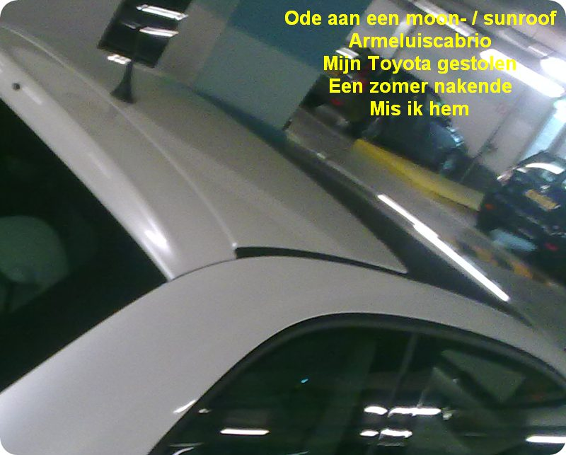 27.04.2010: Even met collega-DBA J in haar nieuwe auto met schuifdak naar de Mac geweest. Klik voor groter.