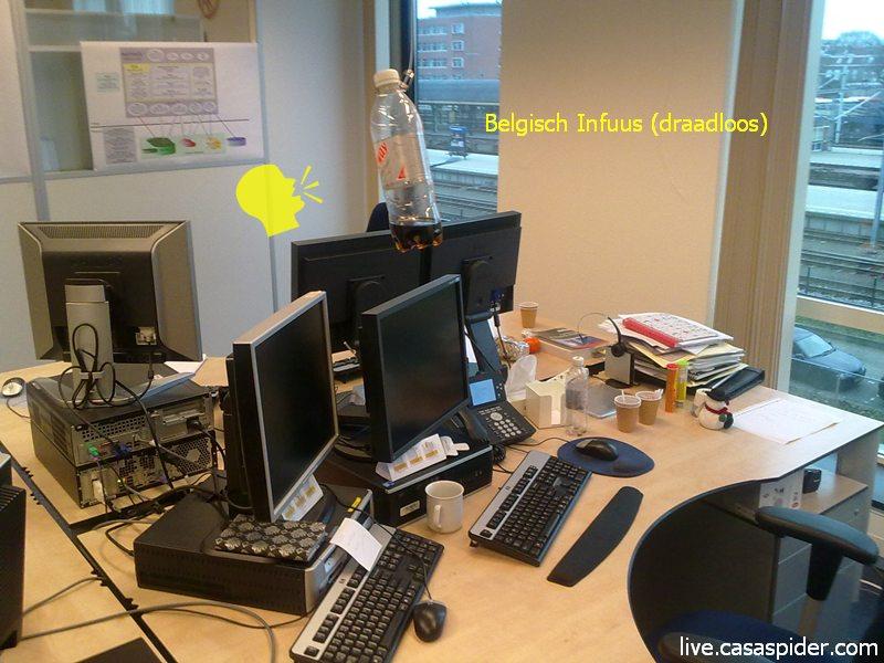 27.01.2011: De DBA-kamer bij Brabant Water heeft een primeur met de eerste Infusinator, ook wel Belgisch Infuus genoemd. Klik voor groter.