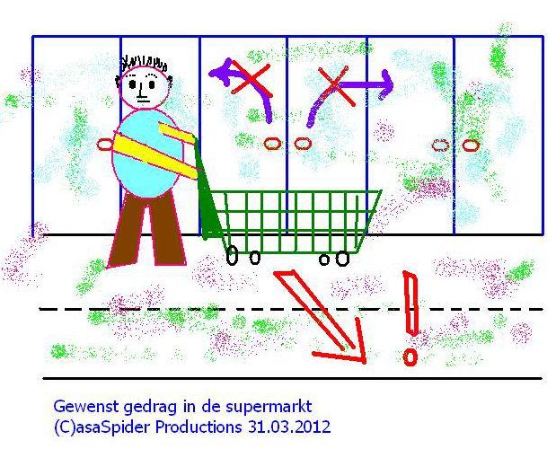 31.03.2012: Mensen, klanten van Albert Heijn: alstublieft parkeert u uw boodschappenwagentje NIET recht voor de glazen deuren van de koeling! Klik voor groter.