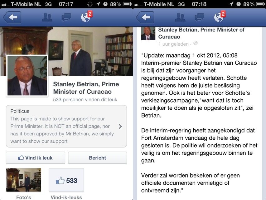 01.10.2012: Sympathisanten hebben een FaceBook pagina opgericht voor de tijdelijke Minister-President van Curacao, de heer Stanley Betrian. Klik voor groter.