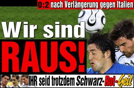 Duitsland in halve finale uitgeschakeld door Italie