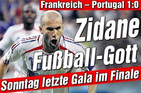 Frankrijk = Zidane verslaat bleek Portugal met 1-0 in halve finale WK2006