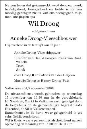 Overlijdensadvertentie meester Wil Droog, donderdag 09.11.2006. Klik voor groter/sluiten.